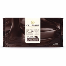 Callebaut 811 Belgian Chocolate, Dark Chocolate Semi - Sweet BLOCK 5-Bar Case, 54.5% Cocoa, natural vanilla, 25kg/55.0lbs.