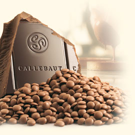 "Callebaut Belgian Chocolate, Milk Chocolate ""Chips"", Chocolate Chips, 31.7% Cocoa,  (2 lbs Repackaged)"