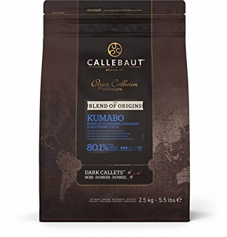 "Callebaut ""Finest Selection"" Dark Chocolate, ""Kumabo"" Extra Bitter Callets/Chips 80.1% Cocoa 2.5kg/5.5-lb Bag"