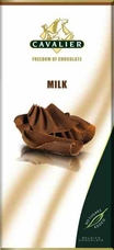 "Cavalier Belgian Chocolate - Milk Chocolate ""No Sugars Added"", 37% Cocoa, 85g/3.0oz.(6 Pack)"