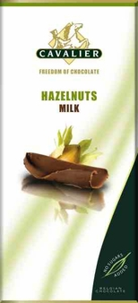"""Cavalier Belgian Chocolate - Milk Chocolate with Hazelnuts """"No Sugars Added"""", 37% Cocoa, 85g/3.0oz.(6 Pack)"""