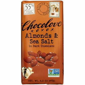 "Chocolove Belgian Chocolate - ""Almonds & Sea Salt"" in Dark Chocolate, 55% Cocoa, 90g/3.2oz.(12 Pack)"