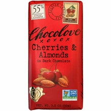 "Chocolove Belgian Chocolate - ""Cherries & Almonds"" in Dark Chocolate, 55% Cocoa, 90g/3.2oz. (Single)"