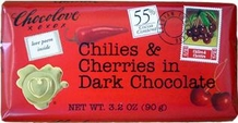 "Chocolove Belgian Chocolate - ""Chilies & Cherries in Dark Chocolate, 55% Cocoa, 90g/3.2oz.(12 Pack)"