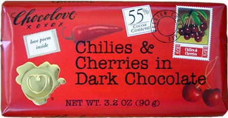 "Chocolove Belgian Chocolate - ""Chilies & Cherries in Dark Chocolate, 55% Cocoa, 90g/3.2oz. (Single)"