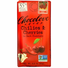 Chocolove Belgian Chocolate - Chilies & Cherries in Dark Chocolate, 55% Cocoa, 90g/3.2oz. (Single)