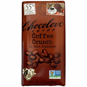 "Chocolove Belgian Chocolate - ""Coffee Crunch"" in Dark Chocolate, 55% Cocoa, 90g/3.2oz. (12 Pack)"
