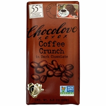 "Chocolove Belgian Chocolate - ""Coffee Crunch"" in Dark Chocolate, 55% Cocoa, 90g/3.2oz. (6 Pack)"