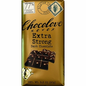 Chocolove Belgian Chocolate - Extra Strong Dark Chocolate, 77% Cocoa, 90g/3.2oz (6 Pack).