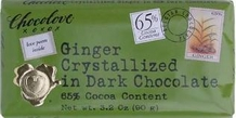 "Chocolove Belgian Chocolate - ""Ginger"" in Dark Chocolate, 65% Cocoa, 90g/3.2oz (12 Pack)."