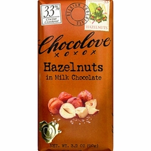 Chocolove Belgian Chocolate - Hazelnuts in Milk Chocolate 33% Cocoa 3.2oz (Pack of 6)