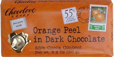 "Chocolove Belgian Chocolate - ""Orange Peel"" in Dark Chocolate, 55% Cocoa, 90g/3.2oz. (6 Pack)"