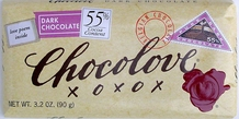 Chocolove Belgian Chocolate - Pure Dark Chocolate, 55% Cocoa, 90g/3.2oz. (6 Pack)