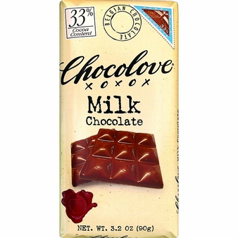 Chocolove Belgian Chocolate - Pure Milk Chocolate, 33% Cocoa, 90g/3.2oz. (12 Pack)