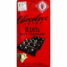 Chocolove Belgian Chocolate - Rich Dark Chocolate, 65% Cocoa, 90g/3.2oz (12 Pack).