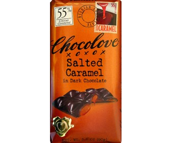 Chocolove Belgian Chocolate - Salted Caramel in Dark Chocolate 55% Cocoa 3.2oz (Pack of 6)