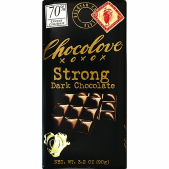 Chocolove Belgian Chocolate - Strong Dark Chocolate, 70% Cocoa, 90g/3.2oz (6 Pack).