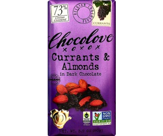 """Chocolove - """"Currants & Almonds in Dark Chocolate"""", 73% Cocoa, 90g/3.2oz. (6 Pack)"""