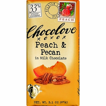 "Chocolove - ""Peach & Pecan in Milk Chocolate"", 33% Cocoa, 90g/3.2oz. (12 Pack)"