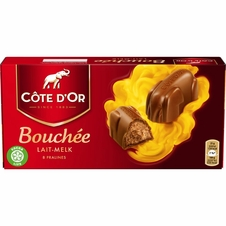 "Cote d'or Belgian Chocolate - ""Bouchee"" Milk Chocolate with Hazelnut Creme Filling, 8 Pcs, 200g/7.05oz. (Single)"