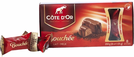 """Cote d'or Belgian Chocolate - """"Bouchee"""" Milk Chocolate with Hazelnut Creme Filling, 8 Pcs, 200g/7.05oz. (12 Pack)"""