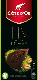 "Cote d'or Belgian Chocolate - ""Dark Chocolate with Pistachios"", 56% Cocoa, 100g/3.5oz (10 Pack)."