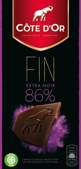 "Cote d'or Belgian Chocolate - ""Noir de Noir"" Brut 86% Cocoa, 100g/3.5oz. (Single)"