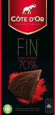 "Cote d'or Belgian Chocolate - ""Noir de Noir"" Intense 70% Cocoa, 100g/3.5oz. (10 Pack)"