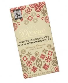 "Divine ""Fair Trade"" 25% White Chocolate with Strawberries, 100g/3.5oz (10 Pack)."