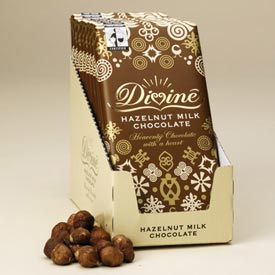"Divine ""Fair Trade"" 28% Milk Chocolate with Hazelnuts, 100g/3.5oz.  (Single)"