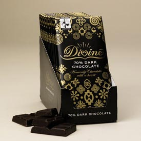 "Divine ""Fair Trade"" 70% Dark Chocolate, 100g/3.5oz. - (5 Bar Pack)"