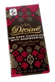 "Divine ""Fair Trade"" 70% Dark Chocolate with Raspberries, 100g/3.5oz. (Single)"
