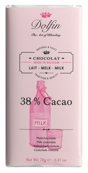 "Dolfin Belgian Chocolate - ""38% cacao"" Milk Chocolate Bar, 70g/2.47oz. (Pack of 15)"