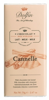 "Dolfin Belgian Chocolate - ""Cannelle"" Milk Chocolate Bar with Cinnamon , 70g/2.47oz. (Pack of 15)"