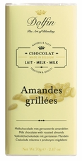 "Dolfin Belgian Chocolate -  ""Amandes Grillées"" Milk Chocolate Bar with Grilled Almonds, 70g/2.47oz. (Single)"