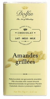 "Dolfin Belgian Chocolate -  ""Amandes Grillées"" Milk Chocolate Bar with Grilled Almonds, 70g/2.47oz. (Pack of 5)"