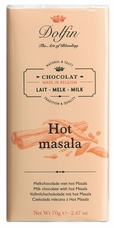"Dolfin Belgian Chocolate - ""Hot masala"" Milk Chocolate Bar with masala spice, 70g/2.47oz. (Single)"