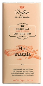 "Dolfin Belgian Chocolate - ""Hot masala"" Milk Chocolate Bar with masala spice, 70g/2.47oz. (Pack of 5)"