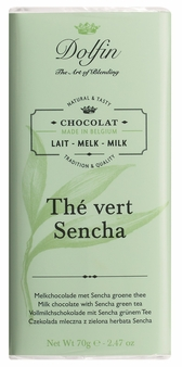 "Dolfin Belgian Chocolate - ""Thé vert sencha"" Milk Chocolate Bar with Sencha Green Tea, 70g/2.47oz. (Pack of 15)"