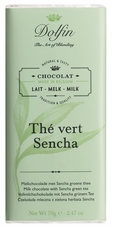 "Dolfin Belgian Chocolate - ""Th� vert sencha"" Milk Chocolate Bar with Sencha Green Tea, 70g/2.47oz. (Single)"