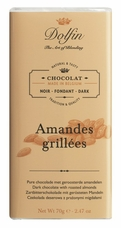 "Dolfin Belgian Chocolate - ""Amandes Grillées"" Dark Chocolate Bar with Grilled Almonds, 70g/2.47oz. (Single)"