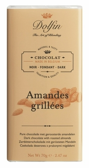 "Dolfin Belgian Chocolate - ""Amandes Grillées"" Dark Chocolate Bar with Grilled Almonds, 70g/2.47oz. (Pack of 15)"