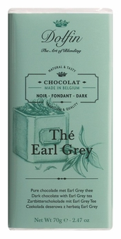 "Dolfin Belgian Chocolate - ""Thé Earl Grey"" Dark Chocolate Bar with Earl Grey Tea, 70g/2.47oz. (Single)"
