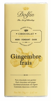 "Dolfin Belgian Chocolate - ""Gingembre Frais"" Dark Chocolate Bar with Fresh Ginger, 70g/2.47oz. (Single)"