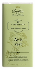 "Dolfin Belgian Chocolate - ""Anis Vert"" Dark Chocolate Bar with Green Aniseed, 70g/2.47oz."
