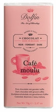 "Dolfin Belgian Chocolate - ""Café moulu"" Dark Chocolate Bar with Ground Coffee, 70g./2.47oz. (Single)"