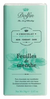 "Dolfin Belgian Chocolate - ""Feuilles de menthe"" Dark Chocolate Bar with Mint Leaves, 70g/2.47oz. (Single)"