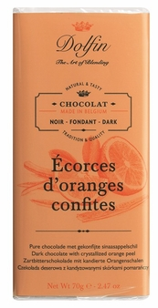 "Dolfin Belgian Chocolate - ""Écorces d'oranges confites"" Dark Chocolate Bar with Crystallized Orange Peel, 70g/2.47oz. (Pack of 15)"