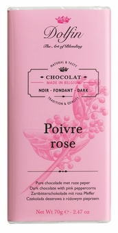 "Dolfin Belgian Chocolate - ""Poivre rose"" Dark Chocolate Bar with Pink Peppercorn, 70g/2.47oz. (Pack of 5)"