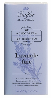 "Dolfin Belgian Chocolate - ""Lavande fine"" Dark Chocolate with Lavender Bar, 70g/2.47oz. (Single)"